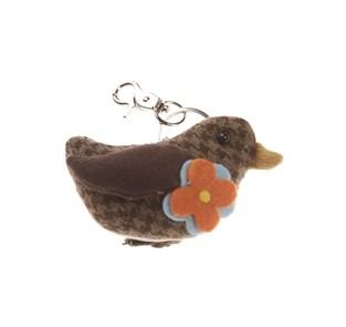Schlüsselring Anhänger Ente mit Ring und Karabinerhaken 9x5cm