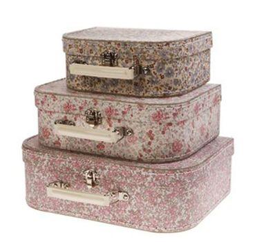 Koffer Kofferset Nostalgie Streublumen 3er Set – Bild 1