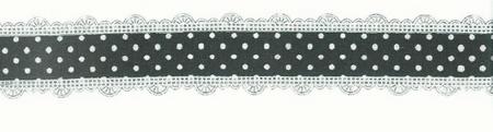 Baumwollband Zierband schwarz mit weißen Punkte Breite: 3cm