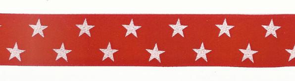 Satinband Zierband rot Sterne Breite: 2,5cm