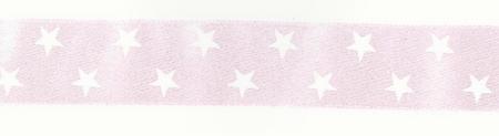 Satinband Zierband rosa Sterne Breite: 2,5cm