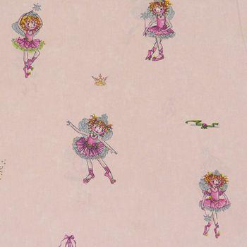 Rasch Deko Stoff Meterware Gardinenstoff Lillifee Ballerina rosa mit Glitzer