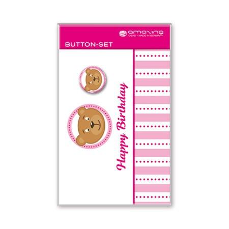 Button-Postkarte Happy Birthday! Bär 10,5x14,5cm