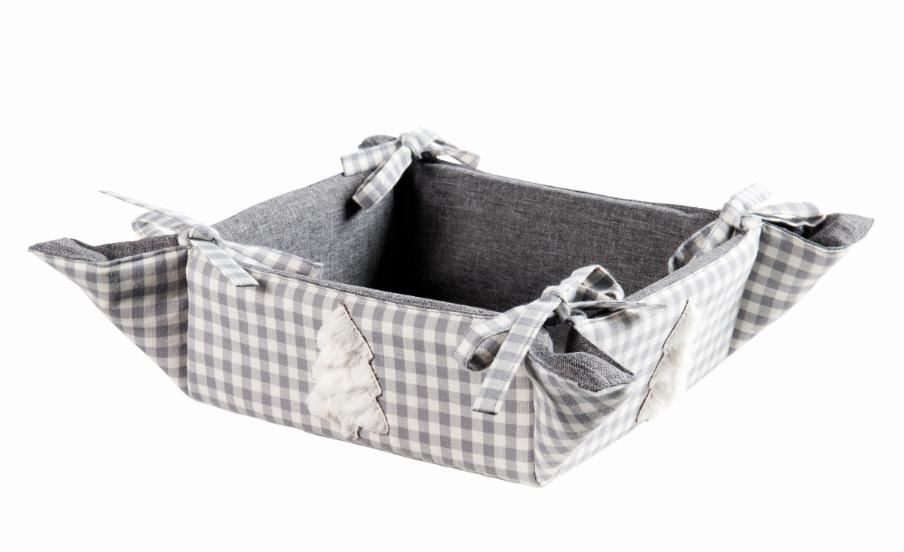 Korb Brotkorb Finn grau weiß 18x18x8cm