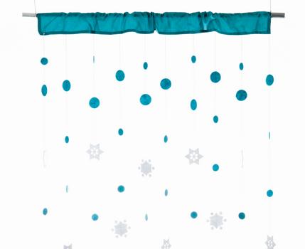 Vorhang Schneeflocken SNOWFALL türkis 90x250cm