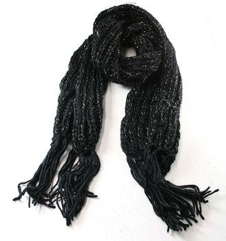 Schal Strickschal mit Lurex schwarz