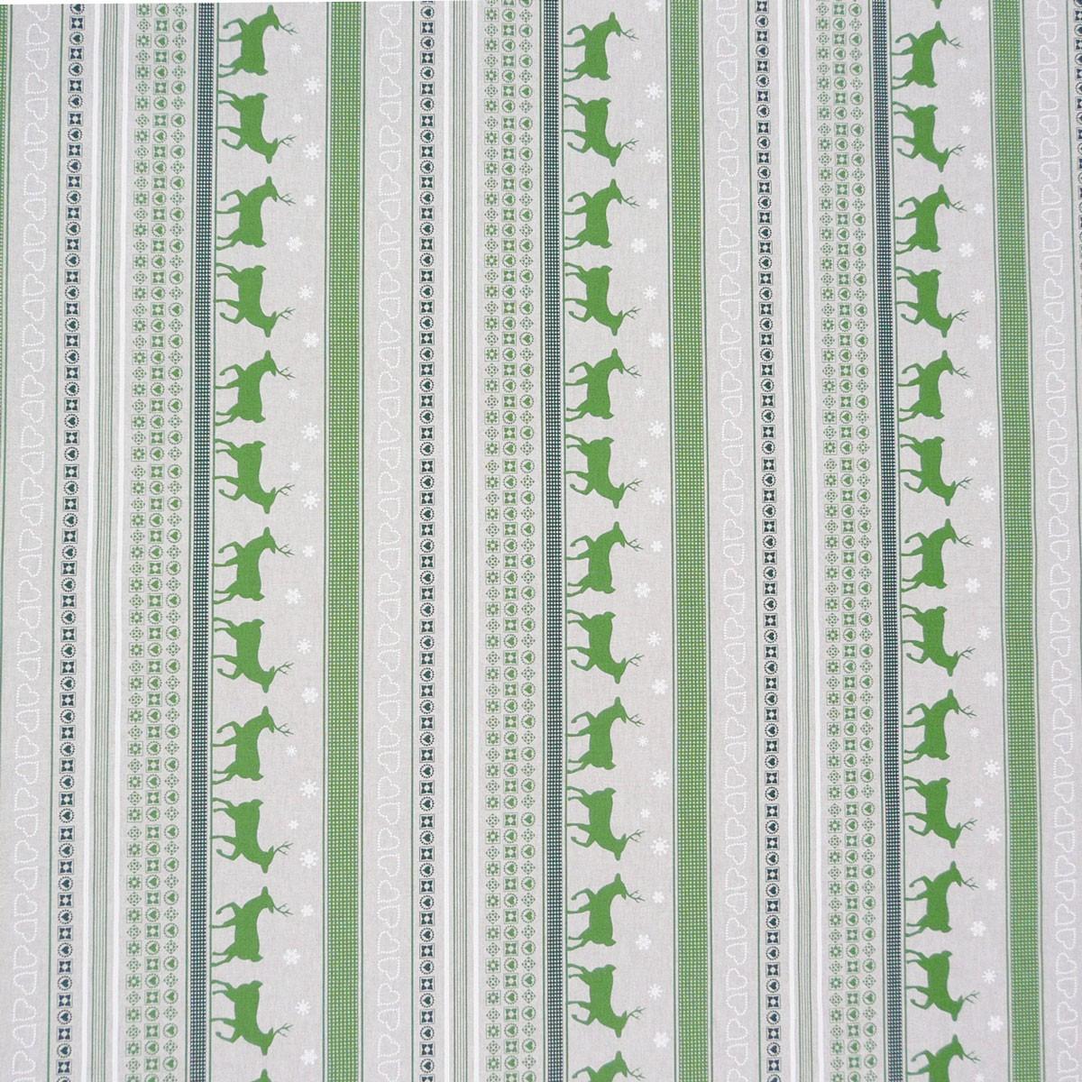 Dekostoff Stoff Dekostoff Meterware Rentiere Streifen grün Weihnachten
