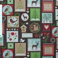 Gardinenstoff Stoff Dekostoff Meterware Tiere Patchwork Weihnachten braun