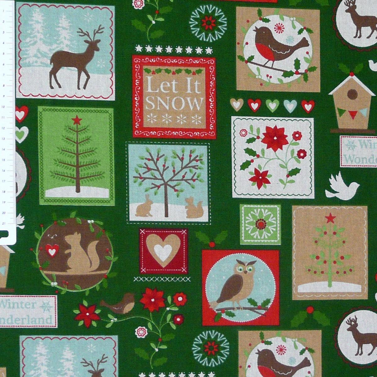 Gardinenstoff Stoff Dekostoff Meterware Tiere Patchwork Weihnachten grün