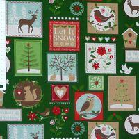 Gardinenstoff Stoff Dekostoff Meterware Tiere Patchwork Weihnachten grün 001