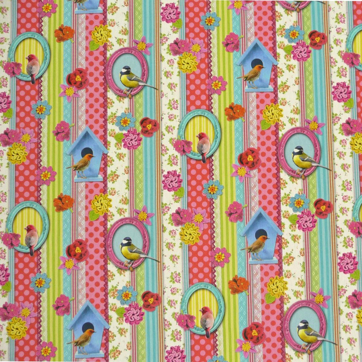 Baumwollstoff Vögel Streifen Rosen Digitaldruck Stoff Dekostoff