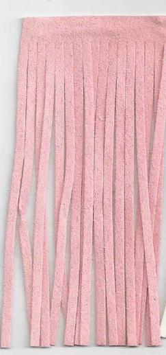 Fransenband rosa Länge: 12cm 100% Kunstfaser Wildleder