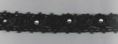Rüschenband Tüll mit Perle schwarz Breite: 2cm