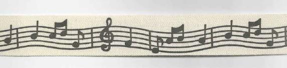 Baumwollband Noten Breite: 2cm