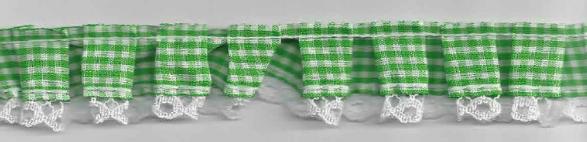 Rüschenband kariert grün Breite: 2,5cm