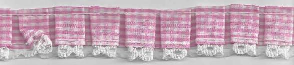 Rüschenband kariert rosa Breite: 2,5cm