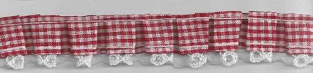 Rüschenband kariert rot Breite: 2,5cm