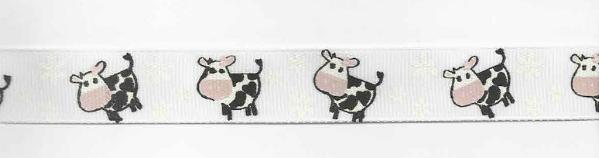 Ripsband Kuh weiß schwarz Breite: 2cm