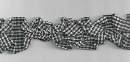 Rüschenband beidseitig kariert schwarz Breite: 3,5cm