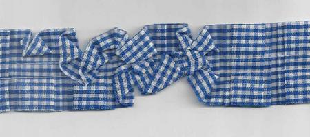 Rüschenband beidseitig kariert blau Breite: 3,5cm