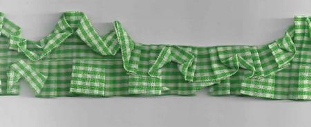 Rüschenband beidseitig kariert grün Breite: 3,5cm