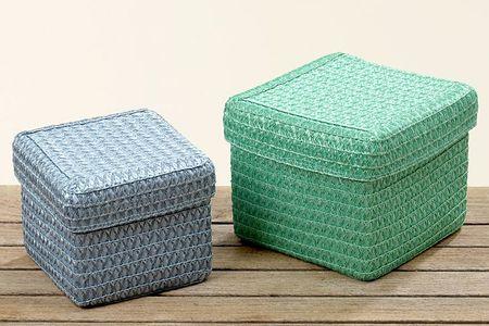 Korb mit Deckel grün Kunststoff groß 14x17cm
