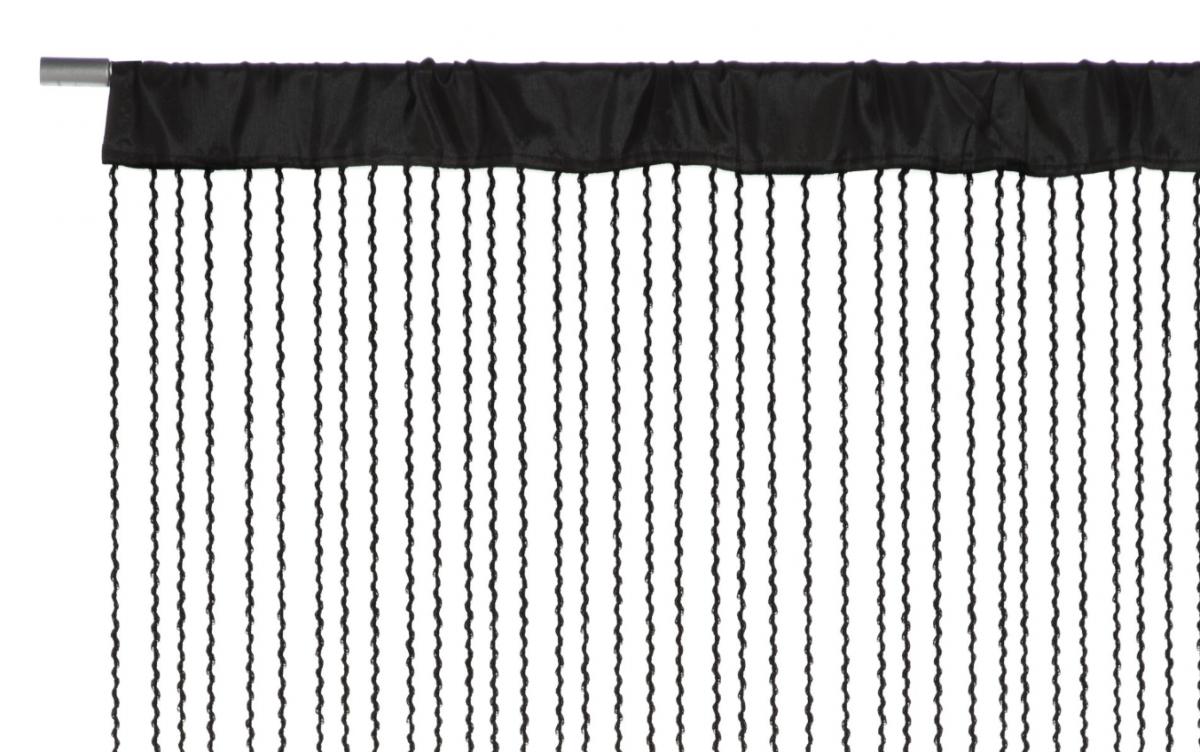 fadenvorhang fadengardine charleston schwarz 90x250cm fertiggardinen fadengardinen. Black Bedroom Furniture Sets. Home Design Ideas