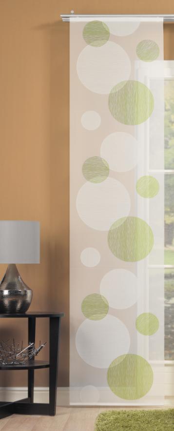 schiebevorhang fl chenvorhang fl chenschal scherli kreise gr n 60x245cm gardinen fertiggardinen. Black Bedroom Furniture Sets. Home Design Ideas