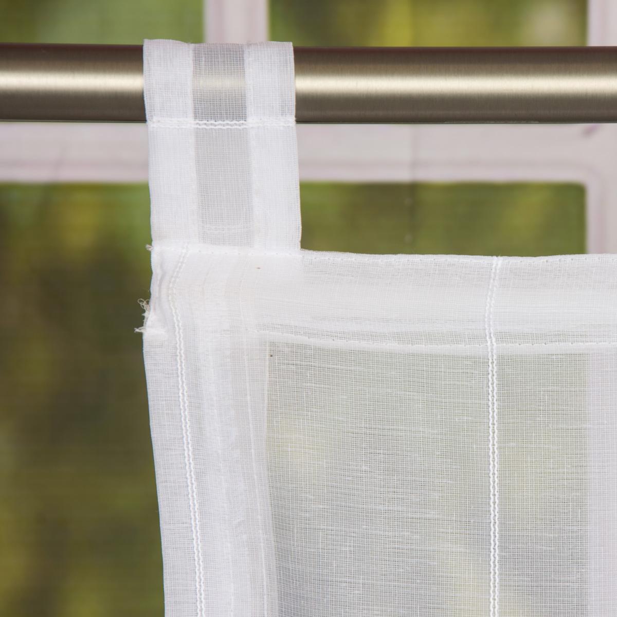 raffrollo rollo schlaufen wei transparent mit streifen 100x140cm gardinen fertiggardinen raff. Black Bedroom Furniture Sets. Home Design Ideas