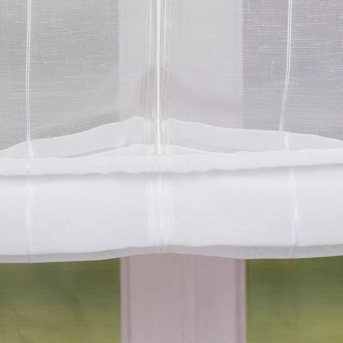 raffrollo rollo schlaufen wei transparent mit streifen 120x140cm fertiggardinen. Black Bedroom Furniture Sets. Home Design Ideas