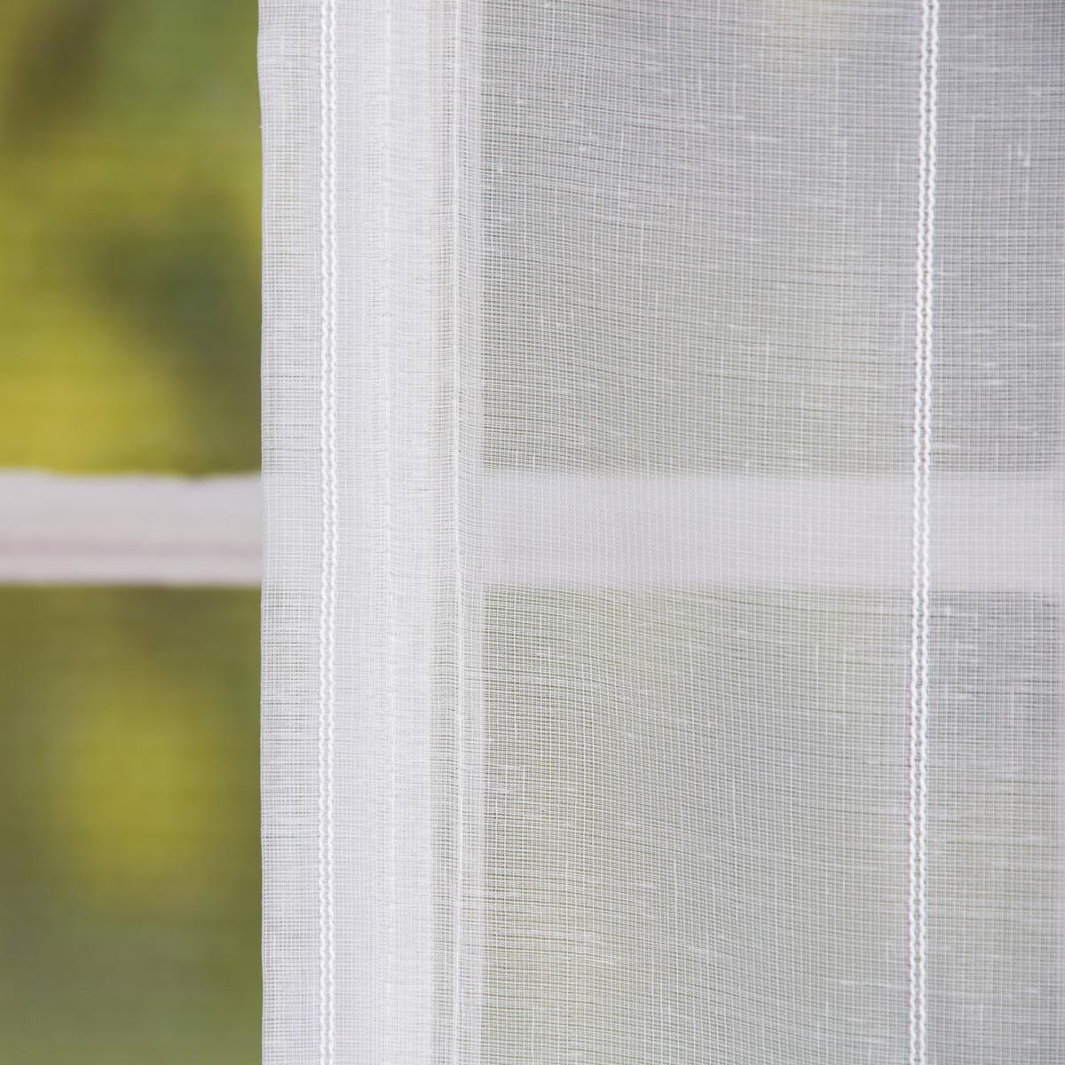 raffrollo rollo schlaufen wei transparent mit streifen 140x140cm gardinen fertiggardinen raff. Black Bedroom Furniture Sets. Home Design Ideas