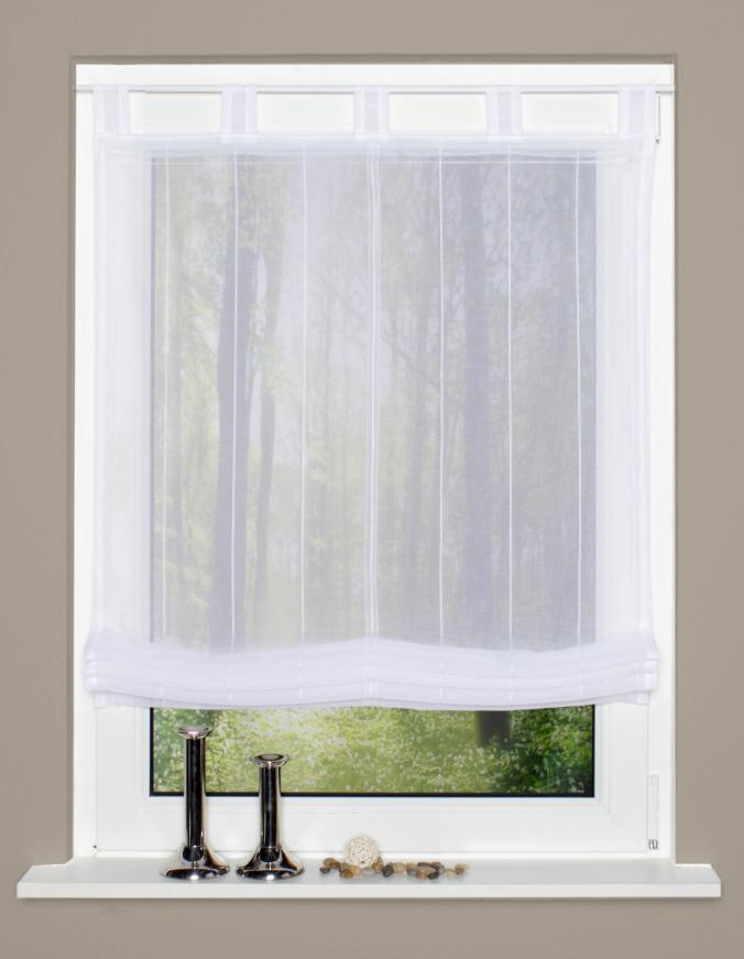 raffrollo rollo schlaufen wei transparent mit streifen 140x140cm meine der. Black Bedroom Furniture Sets. Home Design Ideas