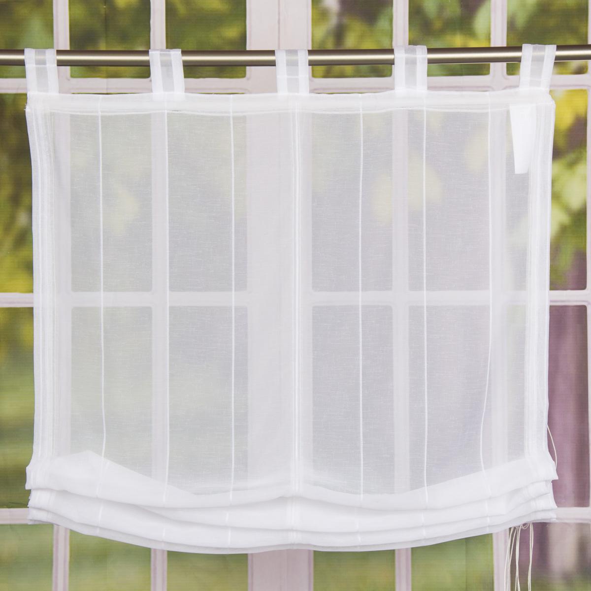 Raffrollo Rollo Schlaufen weiß transparent mit Streifen 140x140cm
