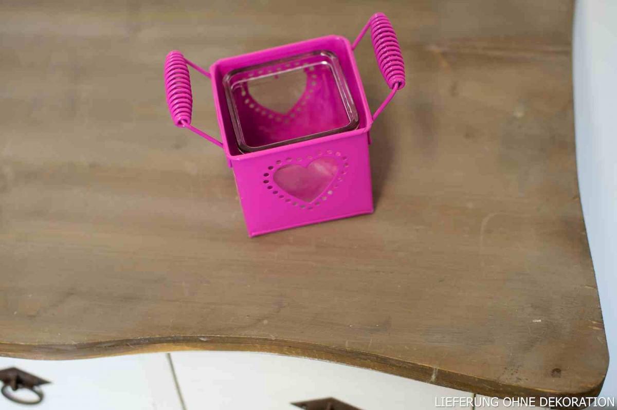 Windlicht für 1 Teelicht Metall pink B: 9cm