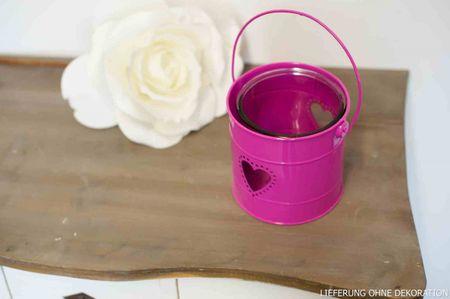 Windlicht rund Metall pink H:13cm