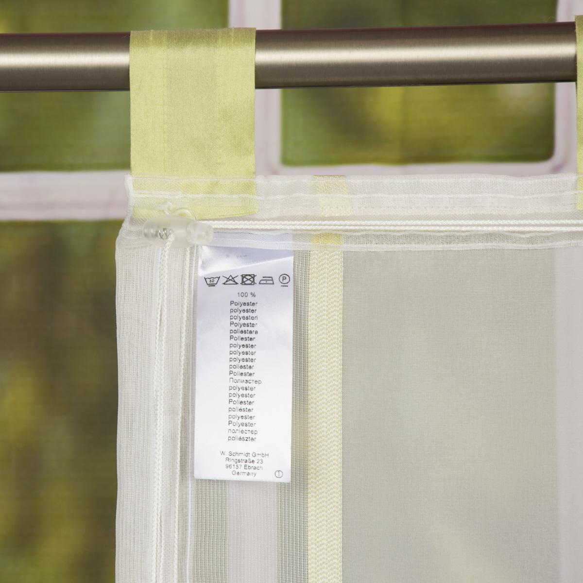 raffrollo rollo schlaufen wei transparent mit gr nen streifen 80x140cm gardinen fertiggardinen. Black Bedroom Furniture Sets. Home Design Ideas