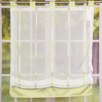 Raffrollo Rollo Schlaufen weiß transparent mit grünen Streifen 80x140cm