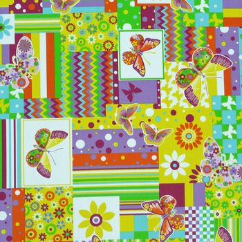 Gardinenstoff Stoff Dekostoff Meterware Patchwork Schmetterling Blume – Bild 1
