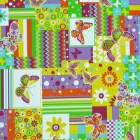 Gardinenstoff Stoff Dekostoff Meterware Patchwork Schmetterling Blume 001
