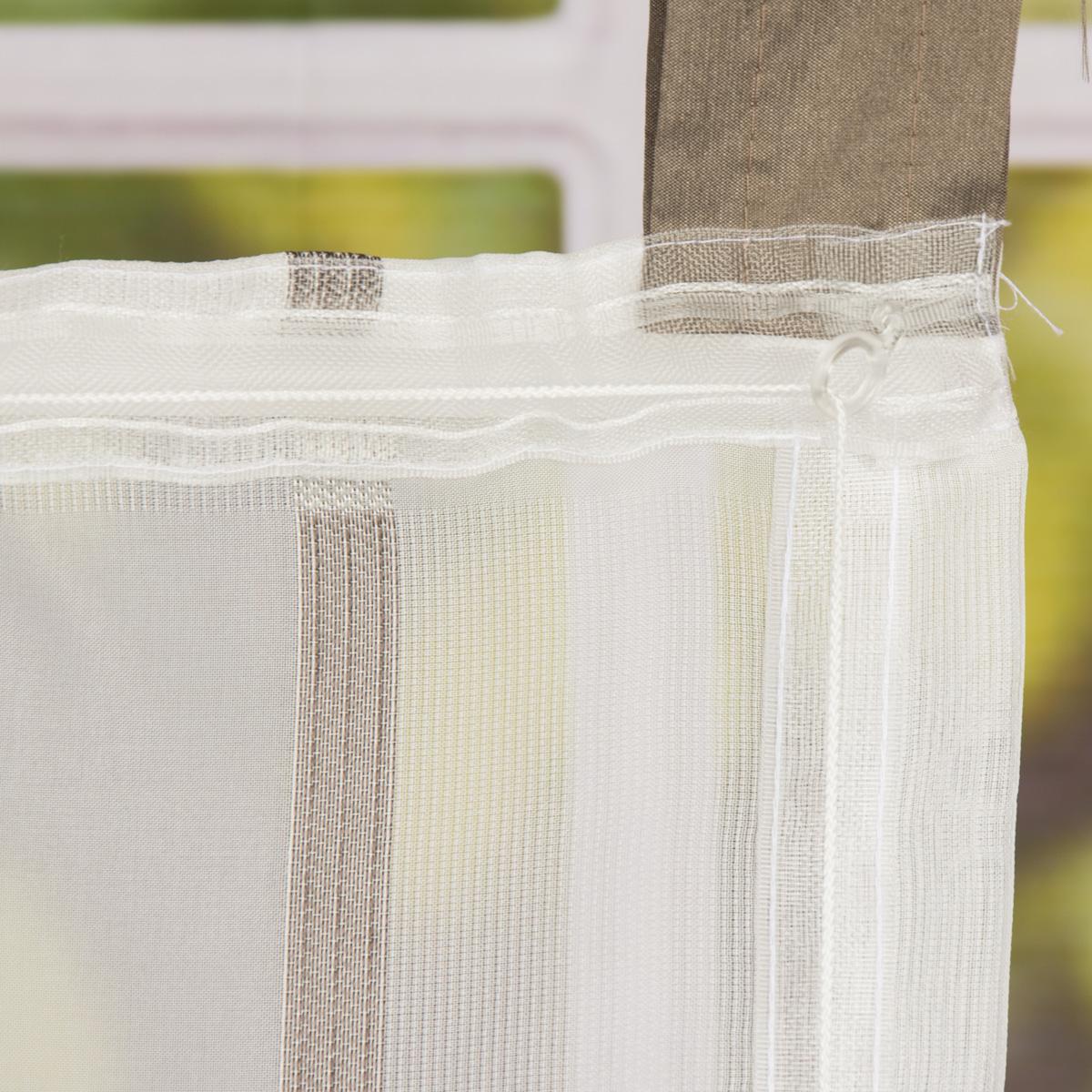 raffrollo rollo schlaufen wei transparent mit braunen streifen 80x140cm gardinen fertiggardinen. Black Bedroom Furniture Sets. Home Design Ideas