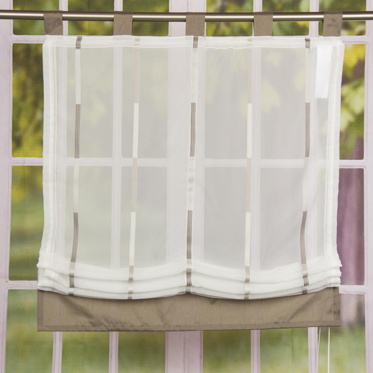 Raffrollo Rollo Schlaufen weiß transparent mit braunen Streifen 80x140cm