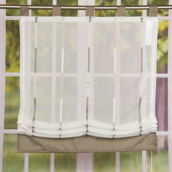 Raffrollo Rollo Schlaufen weiß transparent mit braunen Streifen 120x140cm