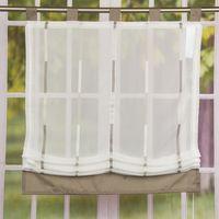 Raffrollo Rollo Schlaufen weiß transparent mit braunen Streifen ...