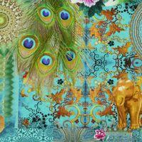 Baumwollstoff Fantasie orientalisch türkis Stoff Dekostoff Digitaldruck