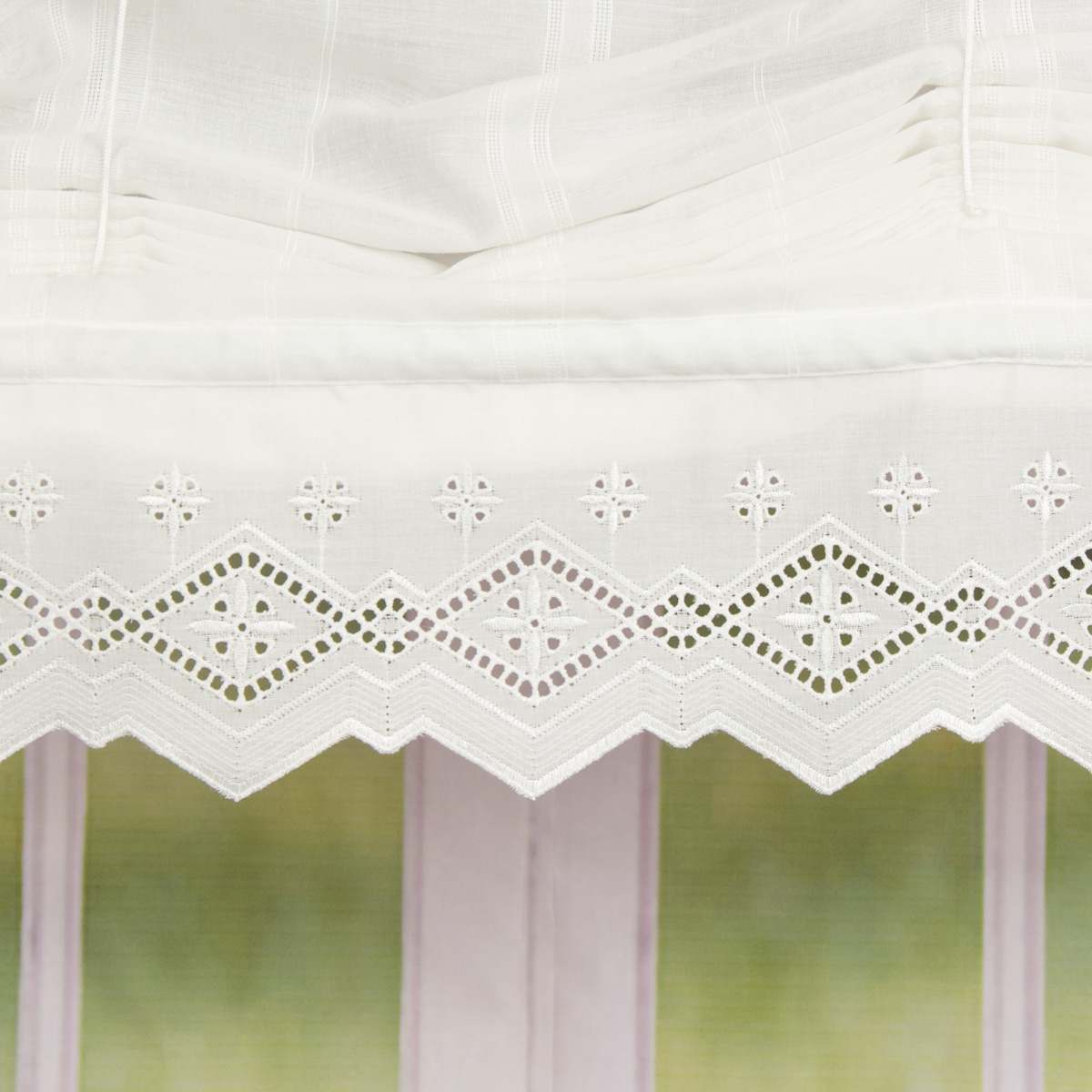 Roller Blind Ribbon Rollo Blind Embroidered Voile With Tip