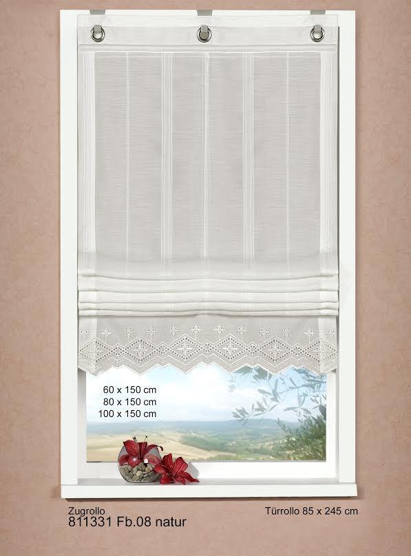 zugrollo b ndchenrollo rollo bestickt voile mit spitze 80x150cm wollwei gardinen fertiggardinen. Black Bedroom Furniture Sets. Home Design Ideas