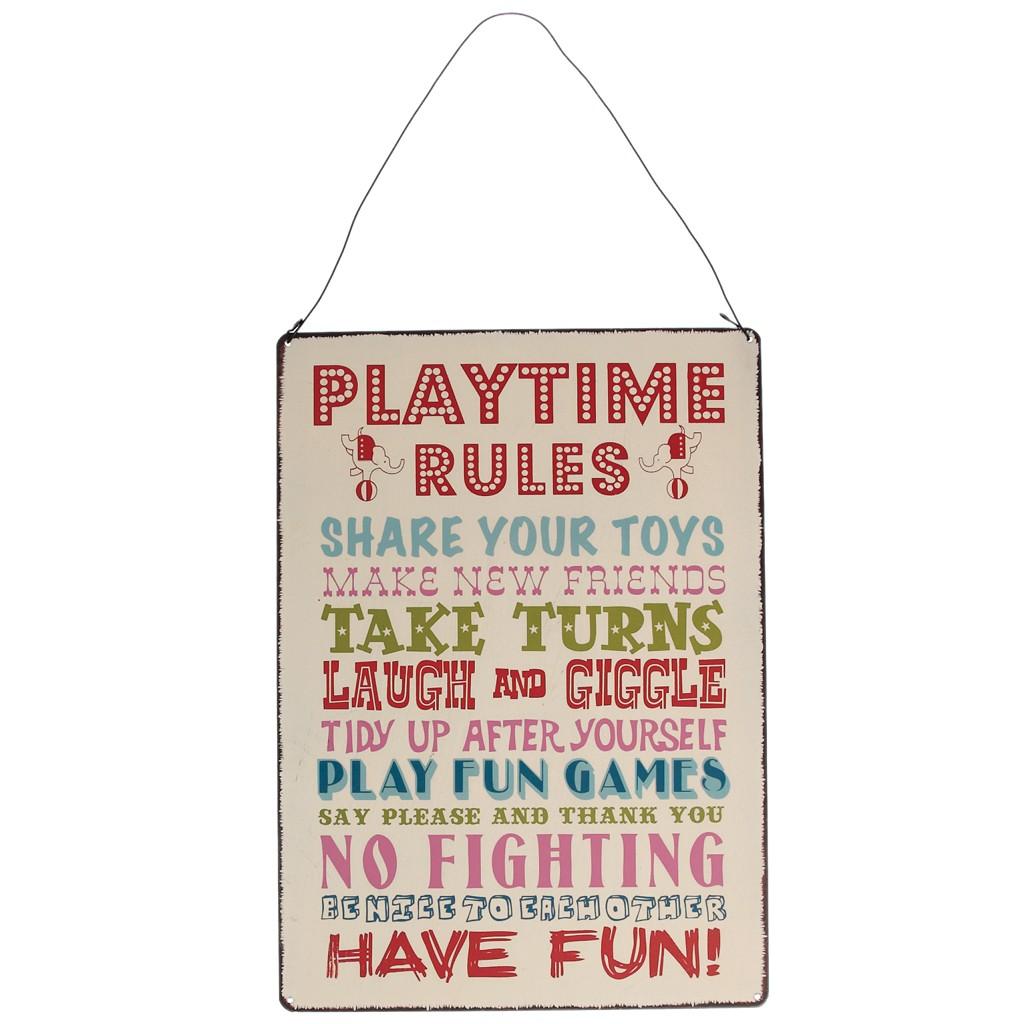 Schild Metall Retro Playtime rules 20x28cm