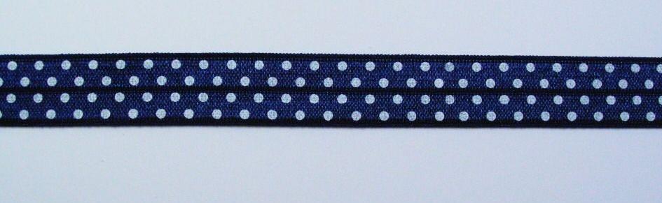 Gummiband Elastic Schrägband Zierband dunkelblau weiß Punkte Breite: 1,5cm