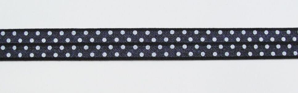 Gummiband Elastic Schrägband Zierband dunkelgrau weiß Punkte Breite: 1,5cm