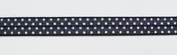 Gummiband Elastic Schrägband Zierband dunkelgrau weiß Punkte Breite: 1,5cm 001